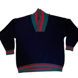 Vintage 1980s men's navy blue wool sweater from New Zealand size XL